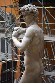 Michelangelo Buonarotti (1475-1564) - David (19th century plaster cast) above upper back left, Victoria & Albert Museum, London, Mar 2012