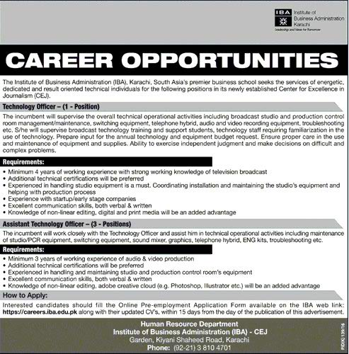 The Institute of Bussiness Administration IBA Karachi Jobs