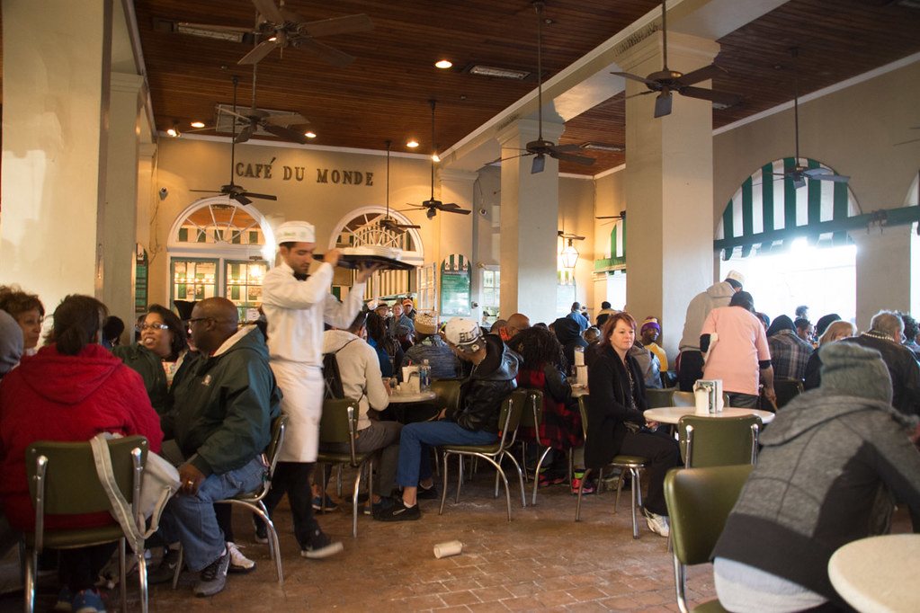 Cafe du Monde seating during Mardi Gras