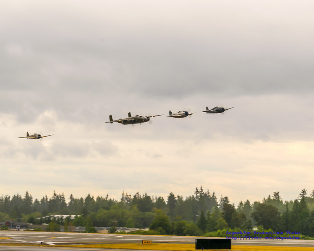 Five Radials, Four WWII Warbirds, Low Approaching