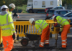 Young people on highways course
