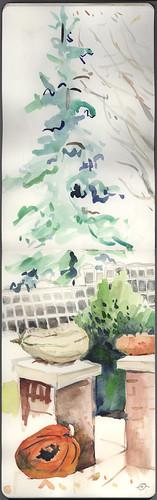 winter pencil watercolor urbanlandscape cedarfallsiowa watercolormoleskine marciamilnerbrage