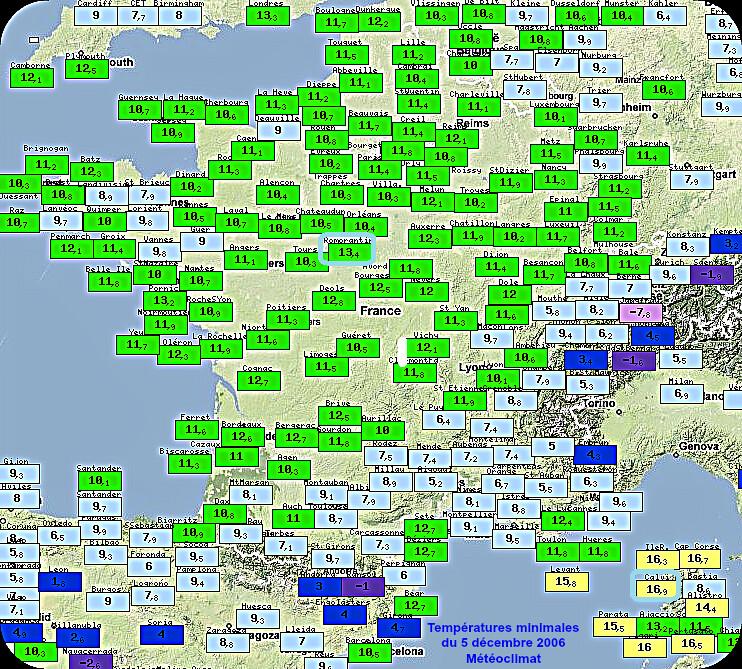 températures minimales douces du 5 décembre 1989 météopassion