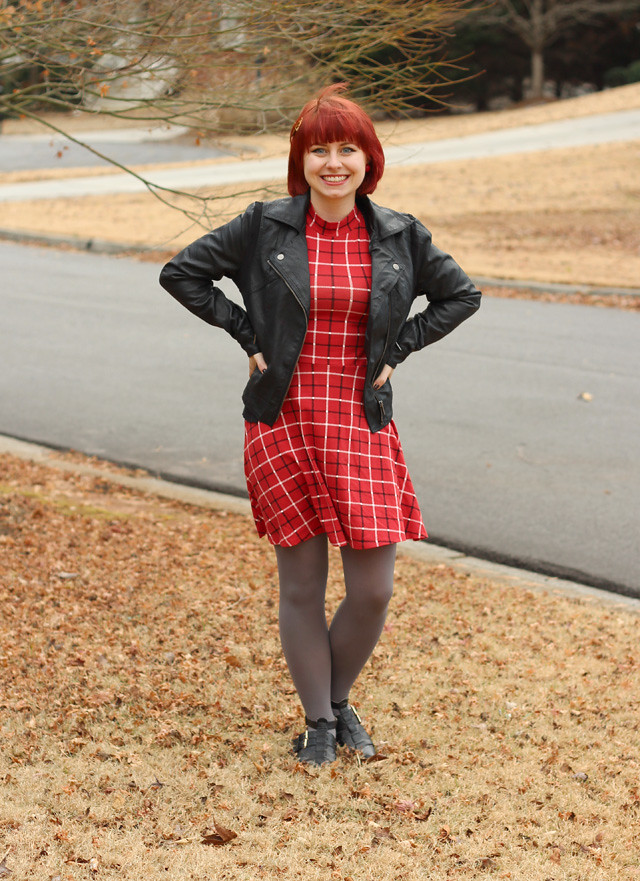 Red Mock Turtleneck Dress with a Leather Jacket and Gray Tights
