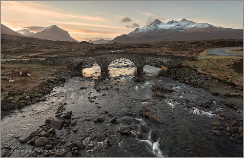 bridge snow mountains west skye sunrise river coast scotland sheep cuillins isle sligachan
