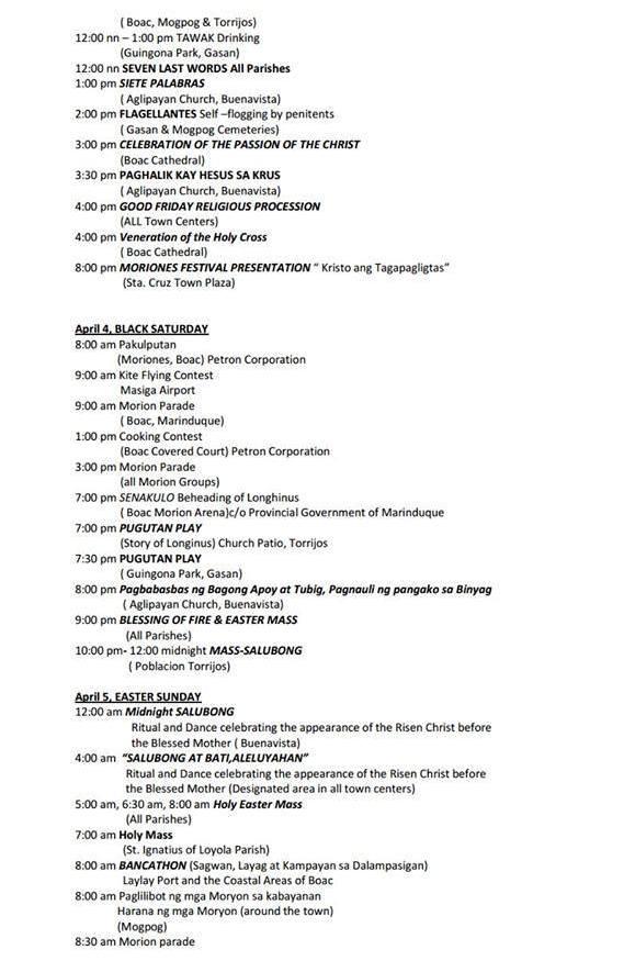 Moriones Festival 2015 Schedule