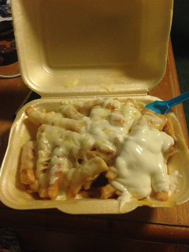 One of our favorite places to get fast food in Manchester. It's called Kebab King. This is chips and cheese with garlic mayo. Fantastically unhealthy.