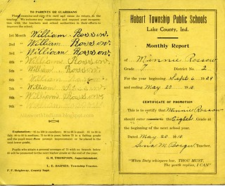 Minnie Rossow report card 1909-10. Eldon Harms.