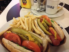 Chicago-style hot dogs at OHare Airport