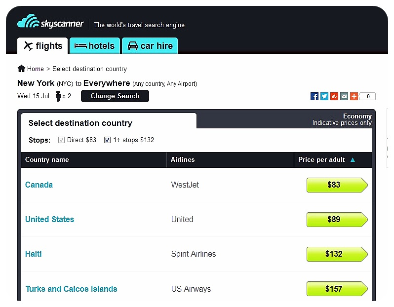 skyscanner everywhere search