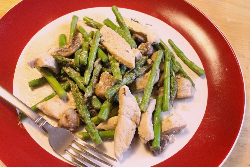 Chicken, Asparagus, & Mushrooms (sauce failure!)