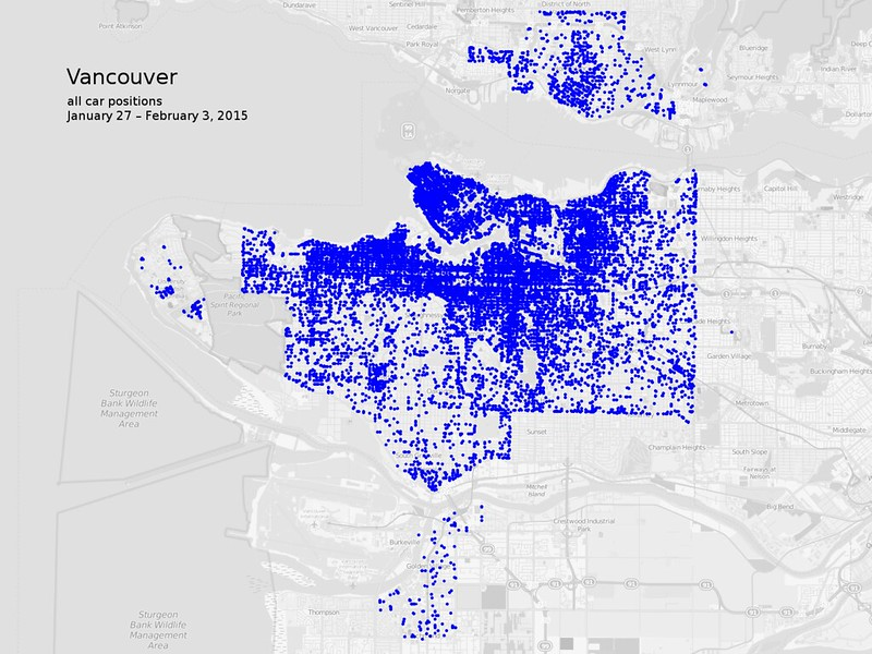 Map of all car2go vehicle positions in Vancouver, North Vancouver, and Richmond