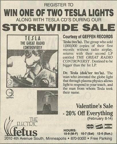 February 1989 Electric Fetus, Minneapolis, MN (Tesla Contest Ad)