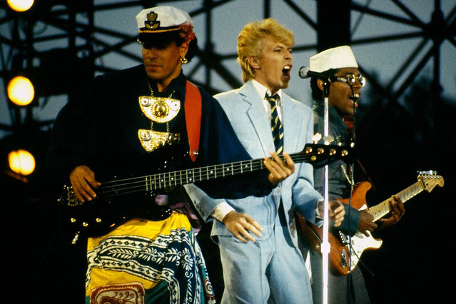 Carmine Rojas, David Bowie, Nile Rodgers, Aschaffenburg, 1983 by Mark Vitullo, Courtesy WikiCommons