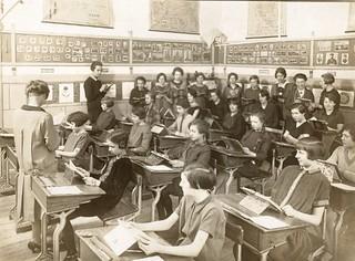 Belgium school girls in class - 1925