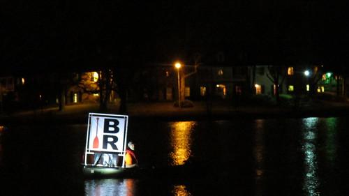 PaddleBR on University Lake at night