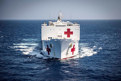 USNS Mercy (T-AH 19) transits through the South China Sea July 13 while en route to Da Nang, Vietnam. (U.S. Marine Corps/Sgt. Brittney Vella)
