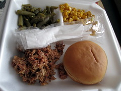 Pulled pork, Roll, Green Beans And Corn.