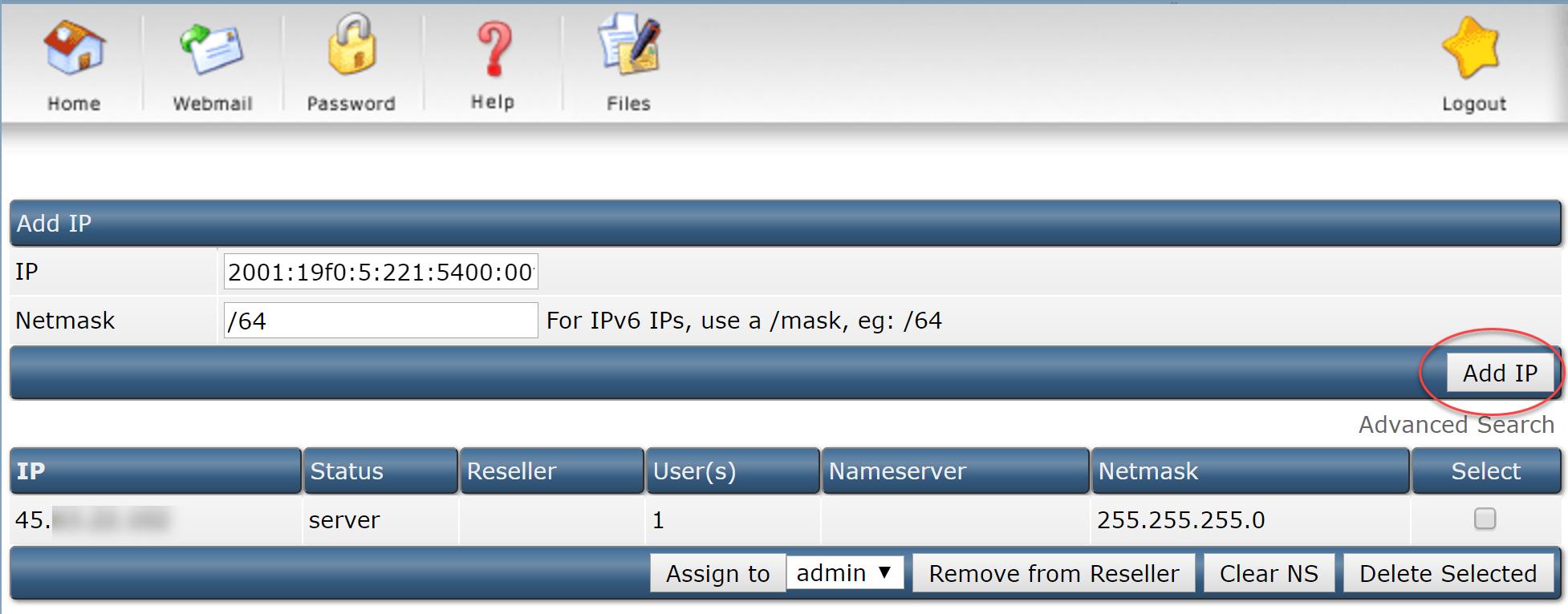 Adding IP