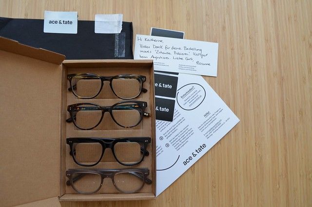ace and tate glasses home try-on box with instructions and personal note