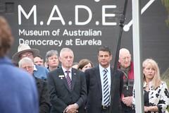 Former Premier Steve Bracks, Ballarat Mayor John Philips, Kaaren Koomen chairwoman of MADE - Eureka160-IMG_9322