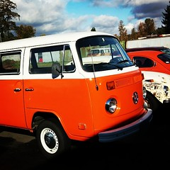 Orange tin top #VW #Bus restored to glory!  #Follow