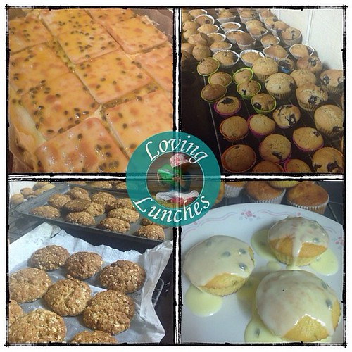 Loving bake day… vanilla slice, blueberry muffins, ANZAC biscuits and passionfruit muffins. Just cheesecake to go! 😳