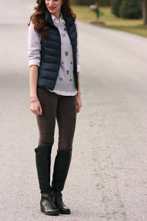 Puffy Vest, Jeweled Sweater