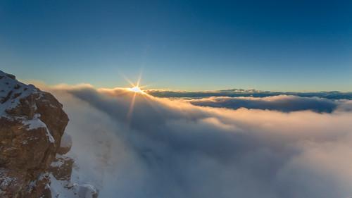 schnee mountain snow clouds sunrise germany bayern deutschland bavaria wolken berge sonnenaufgang zugspitze winterbeauty nikond7000