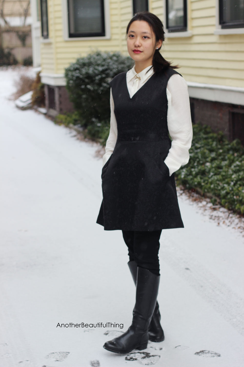 Winter outfit idea - layering dresses over button down shirts