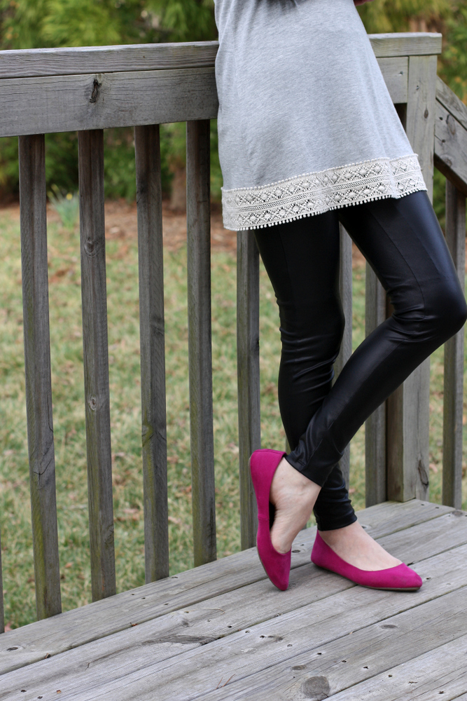 leather leggings + gray tunic + colored flats