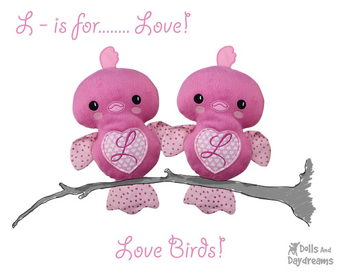 Love Birds ITH Embroidery Machine Valentine Pattern