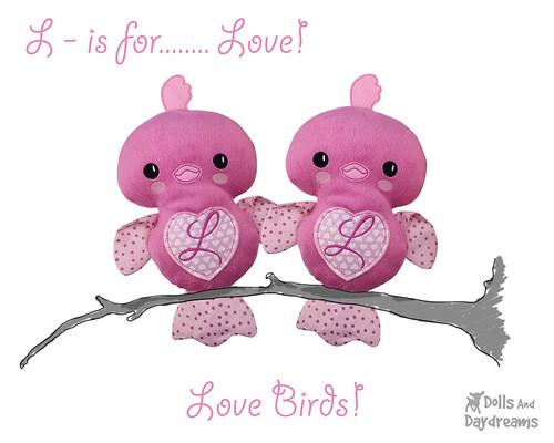 Love Birds ITH Embroidery Machine Valentine Pattern