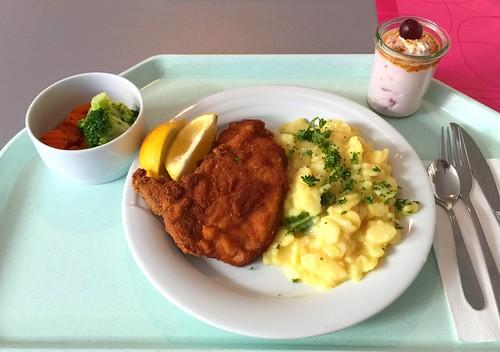 Breaded pork chop with potato cucumber salad / Paniertes Schweinekotelett mit Kartoffel-Gurkensalat
