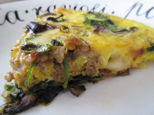 Baked Caramelized Mushroom, Onion and Swiss Frittata