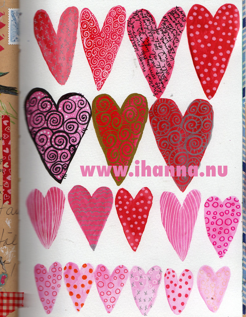 Art Journal Peek: Valentine Heart Doodles