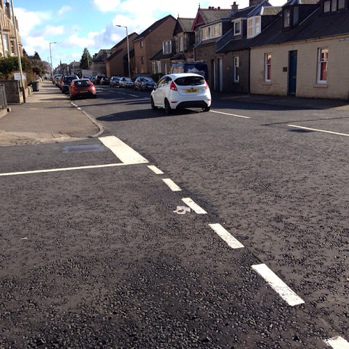 Resurfaced Junction of Brook Street, Westfield Road, Dundee Road, and Claypotts Road Broughty Ferry March 2015