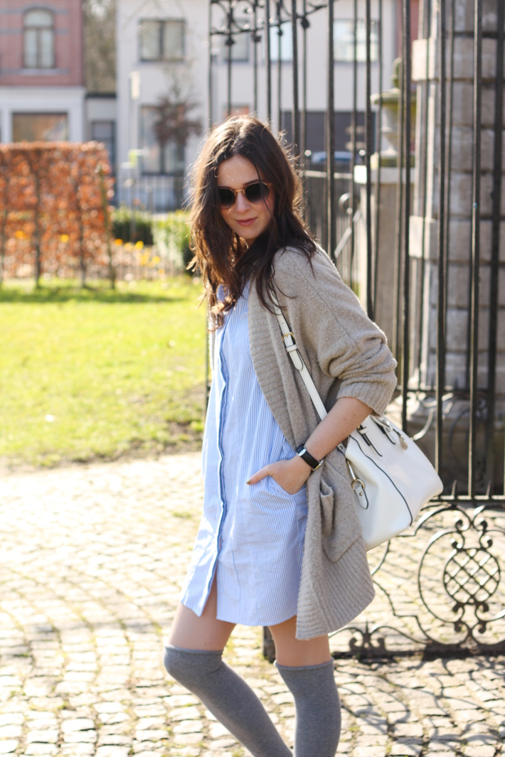 Spencer Hastings inspired preppy outfit: pinstripe shirt dress, over the knee socks