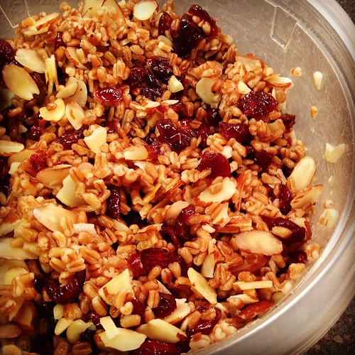 Lunch for work this week! Wheat berries, cranberries, almonds with a light dressing. #lunch #prep #eatatwork #yum