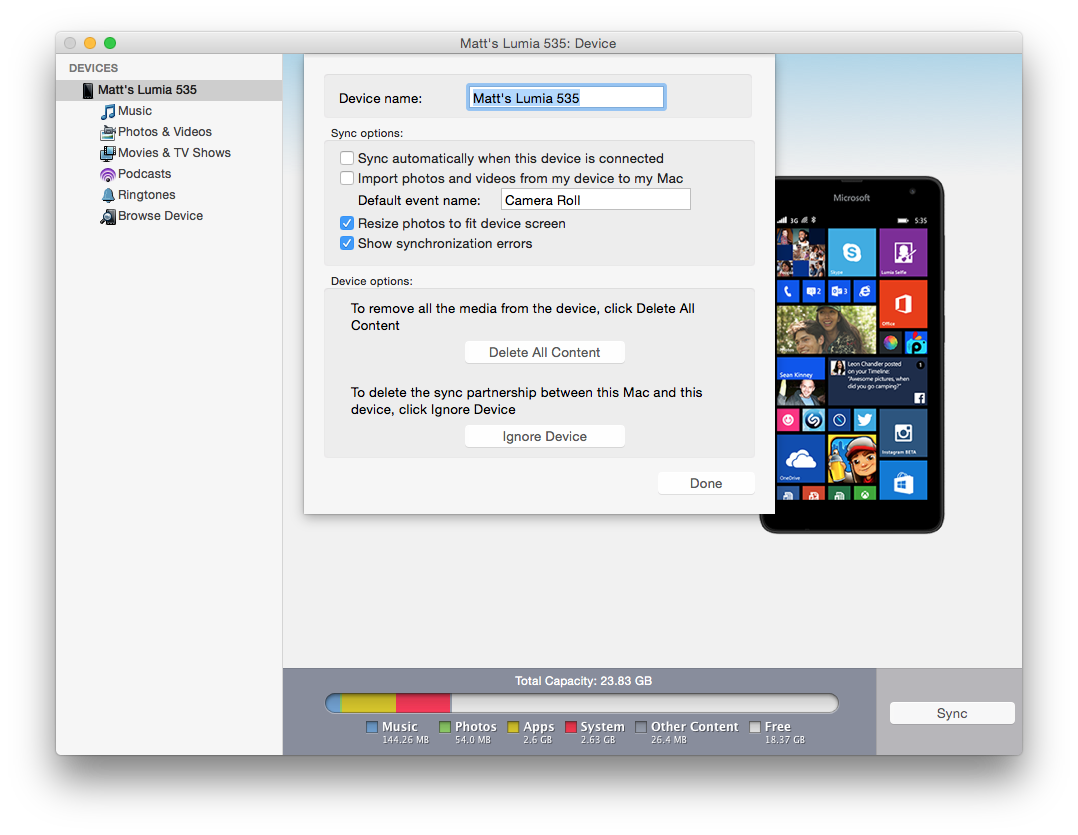 mac windows phone device options