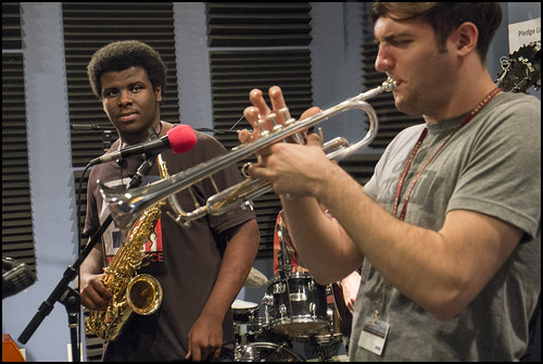 Brandon Shelton and John Michael Bradford of NOCCA/Thelonious Monk Institute Ensemble. Photo by Marc PoKempner