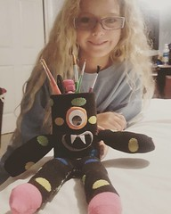 Our newest creation we finished up tonight: pencil holder monster... :smiley: we like him!