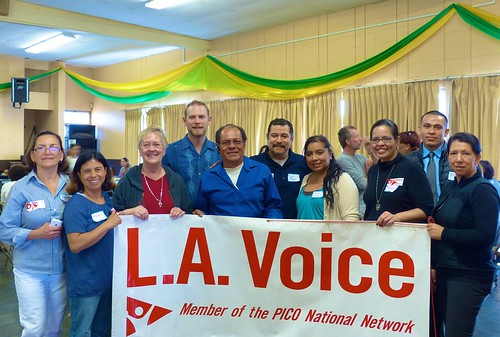 Karen Collier SSL (3rd left) who is the Pastor in St Agatha's Parish, Mid-city Los Angeles