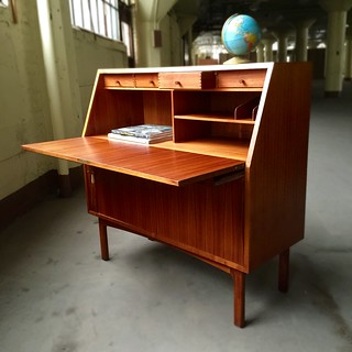Versatile Danish Midcentury Modern Bernhard Pedersen and Son Teak Tambour Door Secretary Desk (Denmark, 1960s)