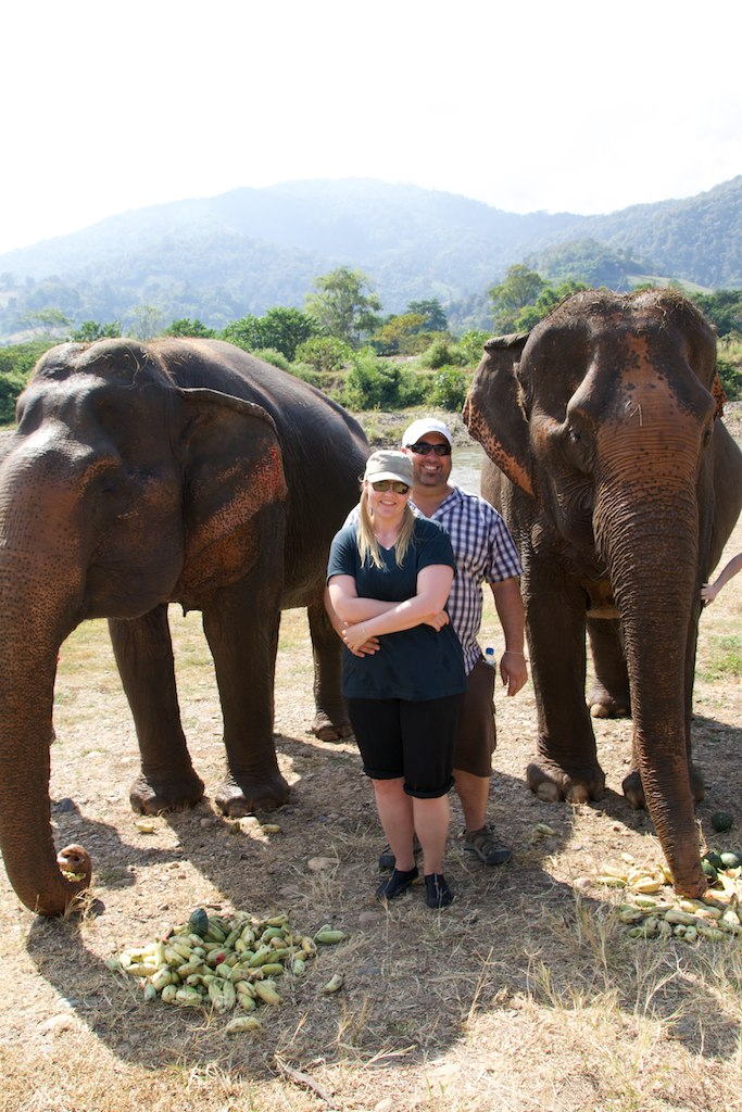Steve & Ange with Elephants