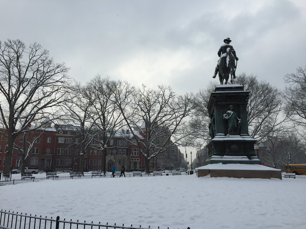 Logan Circle in the snow