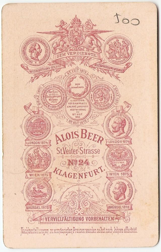 Publicidad del estudio d eAlois Beer en 1878