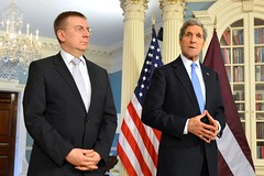 U.S. Secretary of State John Kerry and Latvian Foreign Minister Edgars Rinkevics address reporters at the U.S. Department of State in Washington, D.C., on January 29, 2015. [State Department photo/ Public Domain]