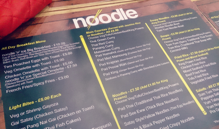 noodle and ice menu