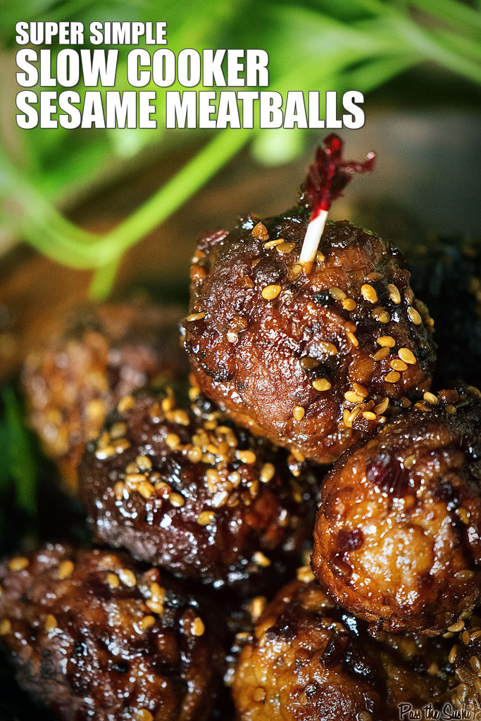 Super Easy Slow Cooker Sesame Meatballs | GirlCarnivore.com